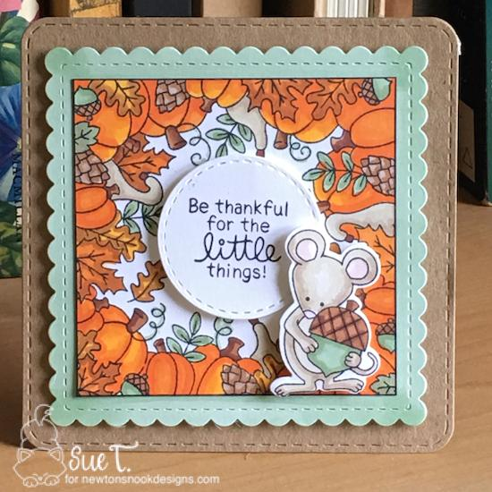 Be thankful for the little things by Sue features Fall Fringe, Autumn Mice, and Frames Squared by Newton's Nook Designs; #newtonsnook