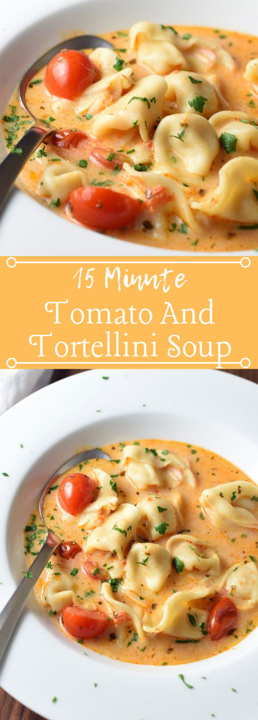 15-MINUTE TOMATO AND TORTELLINI SOUP #vegetarian #tomato #soup #vegan #delicious