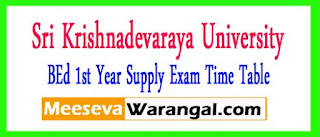 SKU BEd 1st Year Supply Exam Time Table 2017