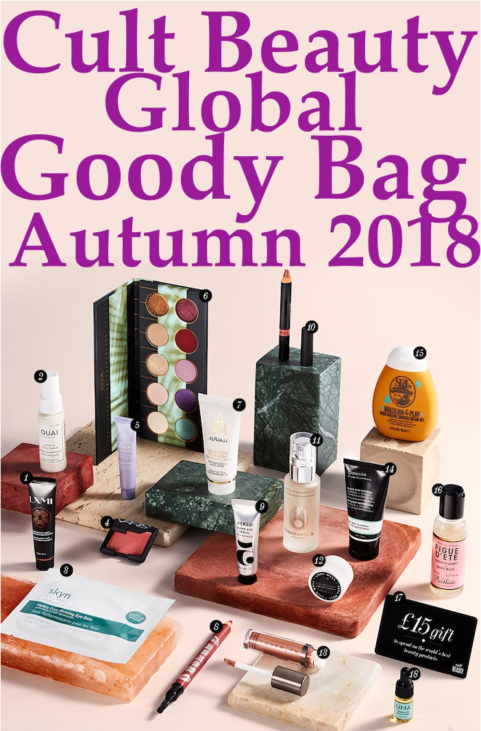 Full contents and spoilers of the Cult Beauty Global Goody Bag Autumn 2018, a free gift with purchase of full-sized makeup and skincare that ships worldwide.