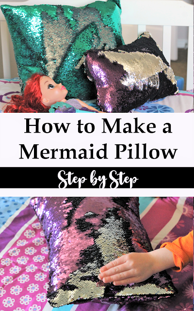 Step by step tutorial on how to make a mermaid pillow along with how to sew sequin fabric successfully.