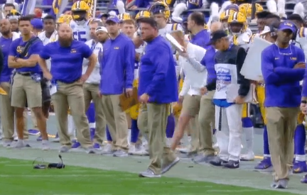LSU head coach Ed Orgeron smashes headset 2019 Fiesta Bowl