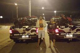 Homens são presos por porte ilegal de arma de fogo e entorpecentes