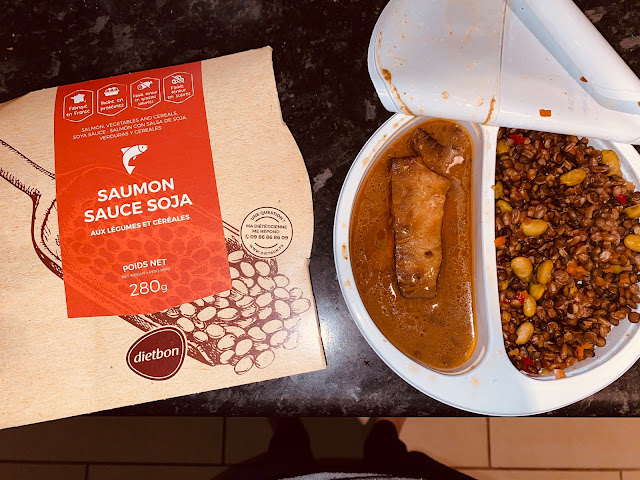 Dietbon Salmon in soya sauce in it's packaging showing the food straight from heating for 2 minutes in the microwave
