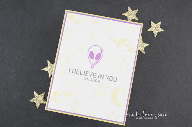 This fun encouragement card, with it's cheery color combo, is a quick and simple way to cheer on a friend, and hopefully bring a smile to their face.  Featuring the new I Believe Stamp Set from Fun Stampers Journey.  #fsjallday