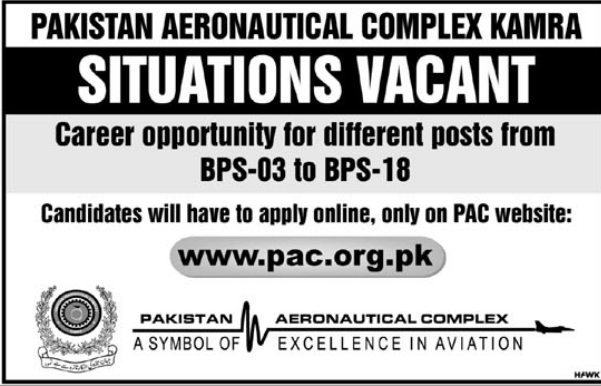 Advertisement for PAC Jobs 2018