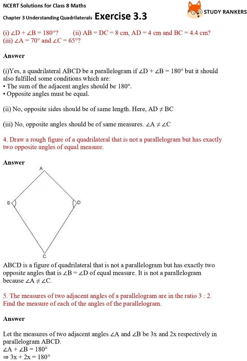 NCERT Solutions for Class 8 Maths Ch 3 Understanding Quadrilaterals Exercise 3.3 3