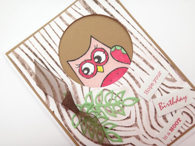 Birthday card with stamped owl and embossed woodgrain.