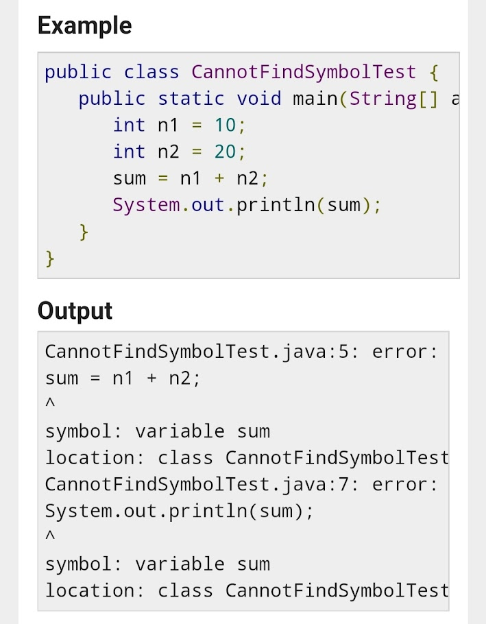 cannot find symbol java,Cannot find symbol Java error solution,Cannot find symbol Java for loop ,Cannot find symbol java ArrayList,Cannot find symbol java IntelliJ,Cannot find symbol java Scanner,Cannot find symbol variable java,Java cannot find symbol class in same package