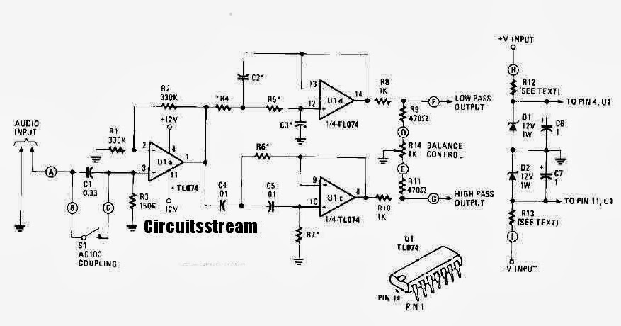 Active Crossover Circuit Diagram With Tl074 Circuits