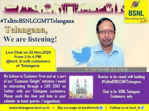 Talk to BSNL Telangana CGM Live Chat on Twitter to raise Queries