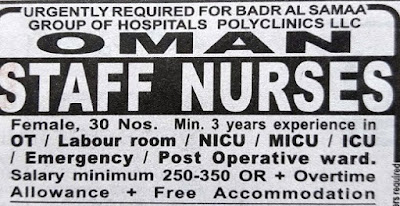 URGENTLY REQUIRED STAFF NURSES FOR OMAN PRIVATE HOSPITAL - APPLY NOW