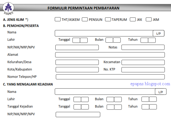 Kumpulan Formulir Taspen Info Pns Dan Lowongan Kerja