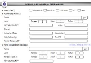 formulir taspen 1 2 3 permintaan pembayaran