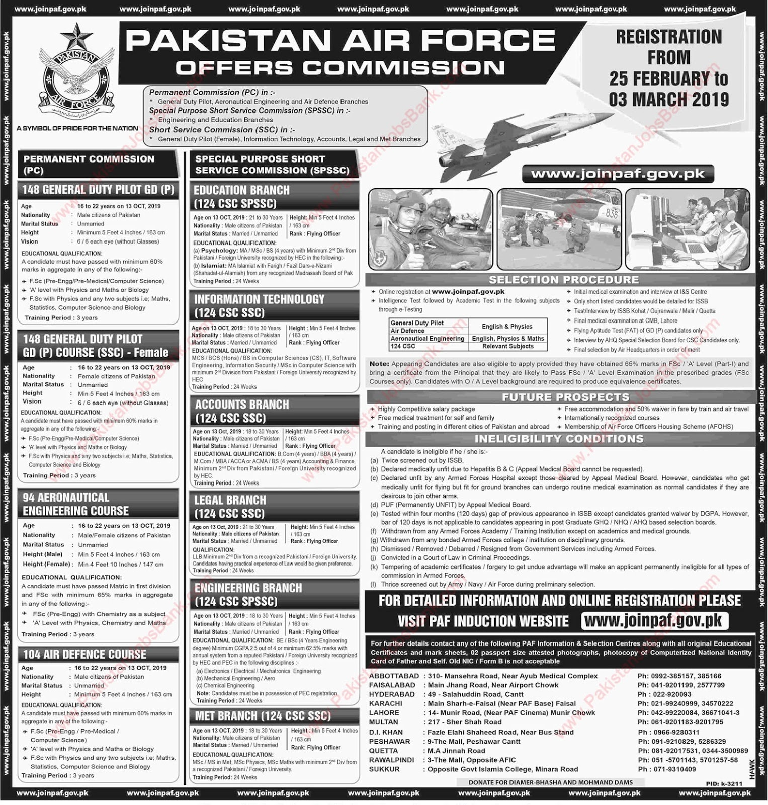 PAF Commissioned Officer Jobs Feb 2019  Pakistan Air-Force Latest Total Vacancies 800