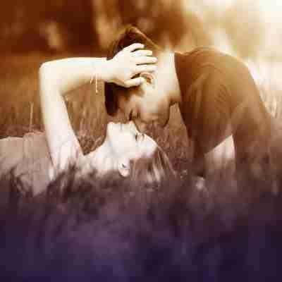two lovers having romance in garden