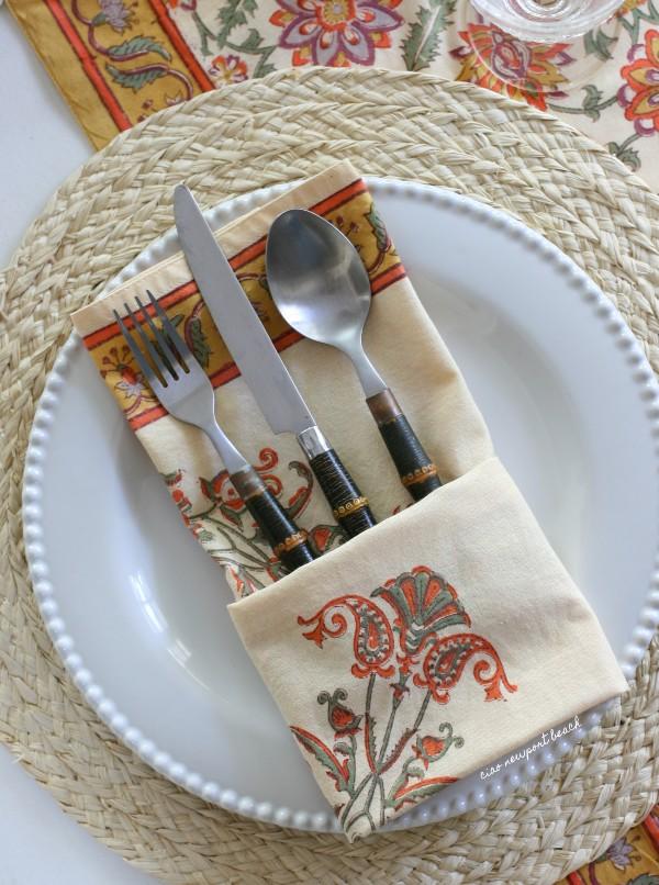 cloth napkin folded into cutlery pocket