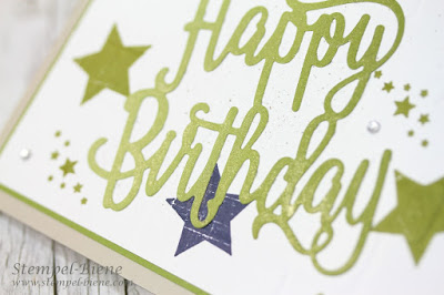 Stampinup; Thinlits Happy Birthday; Stanze Geburtstagsspruch; Prägeform Mauer; Stempel-biene; Teamgeschenke; Teampost; Geburtstagspost; Überraschungspost