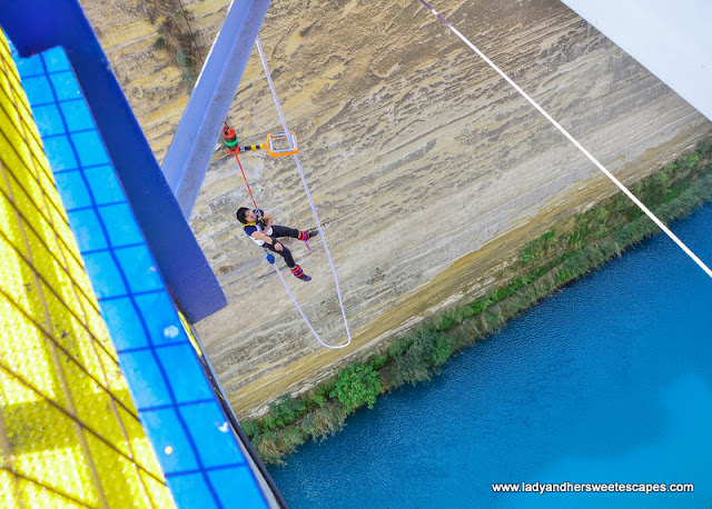 Ed bungy jump in Corinth Greece