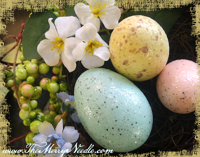 pastel sparkly easter eggs in nest