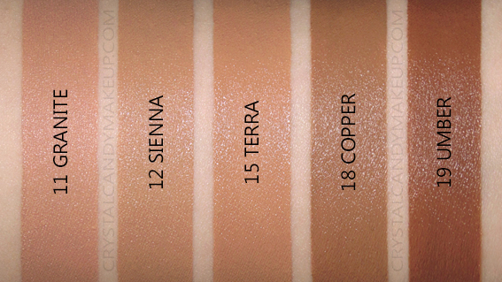 Vichy Mineralblend Hydrating Foundation Swatches Sienne Terra Copper Umber MAC NW40 NC40 NC42 NC45