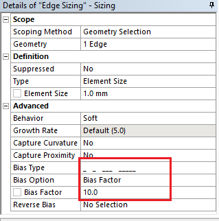 Bias type and Bias factor in ansys