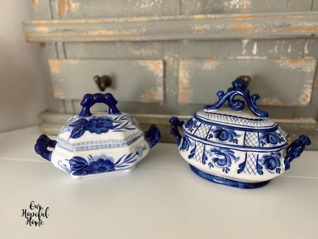 two blue white porcelain tureens