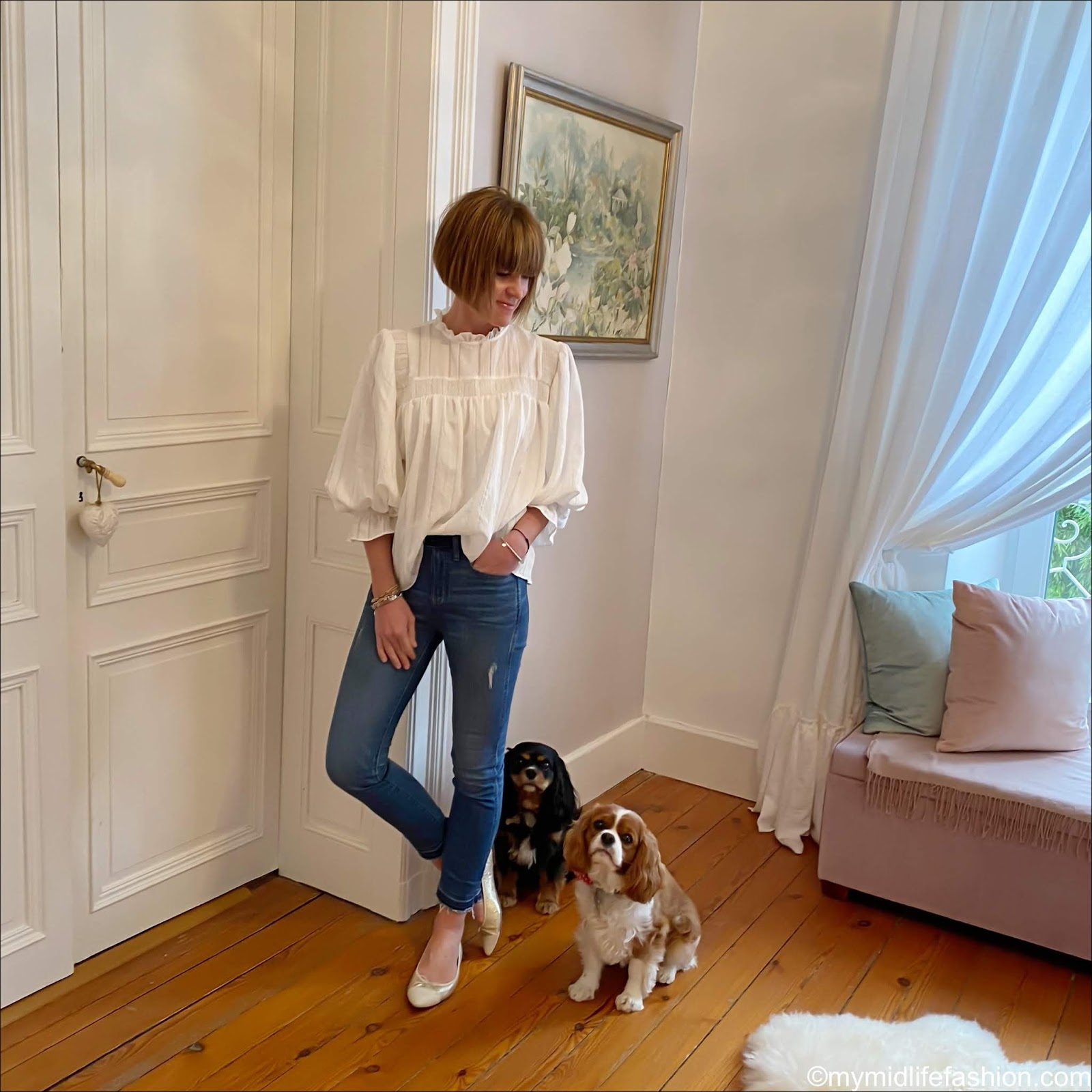 my midlife fashion, zara white embroidered blouse, j crew skinny jeans, j crew pointed toe two tone ballet pumps