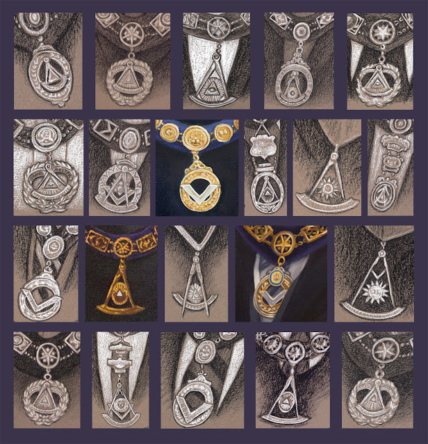 Masonic Collar Jewels of Grand Masters from Portraits by Travis Simpkins
