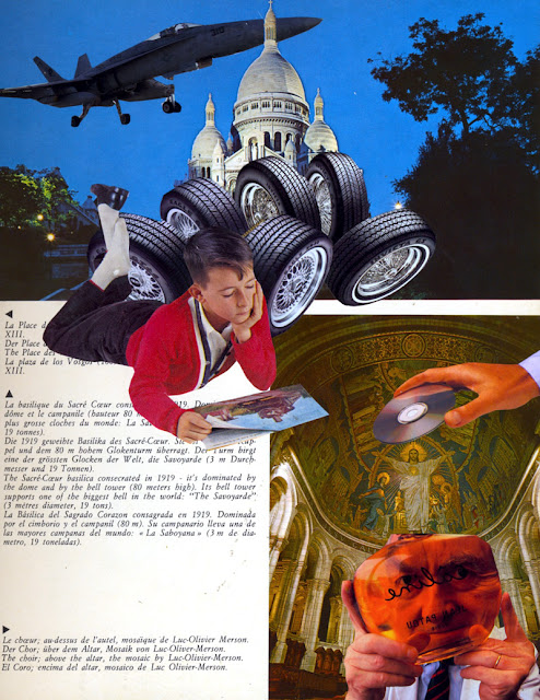 """Collage from repurposed book """"The Future Really Is Up in the Air"""""""