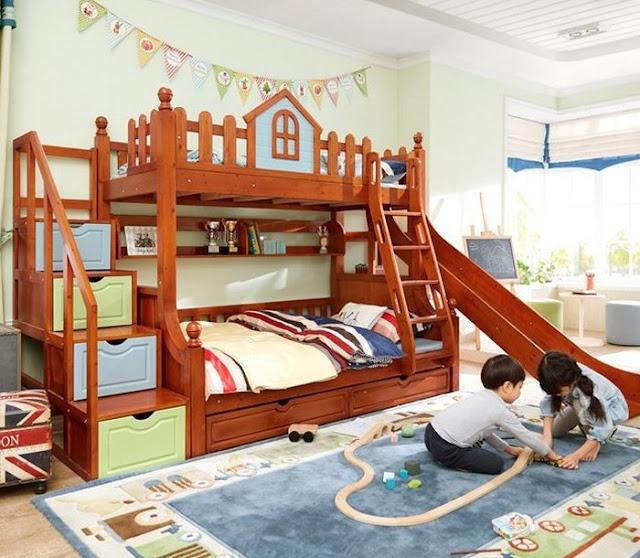 Giường ngủ gỗ tầng vui chơi có cầu trượt cho bé