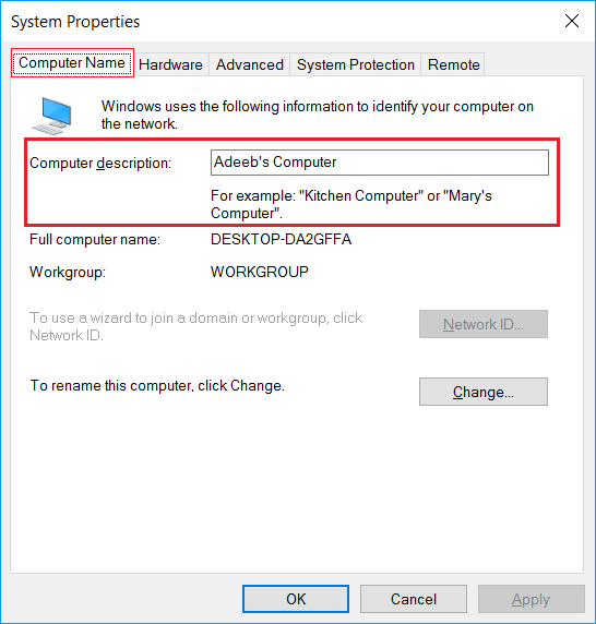 How to change the computer description in Windows?