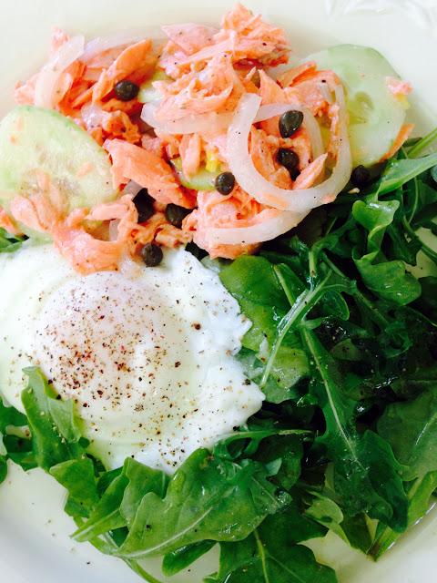 Poached salmon, poached egg and arugula salad.