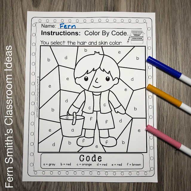 Jack and Jill Went Up the Hill Color By Code Alphabet Remediation for Kindergarteners