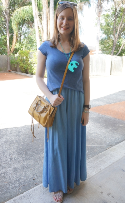 monochrome maxi skirt chambray marle tee stay at home mum ABA meeting outfit | Away From Blue