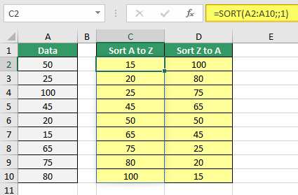 Contoh penggunan fungsi SORT Excel yang menggunakan argumen sort_order untuk menentukan jenis pengurutan data, baik secara Ascending maupun Descending.
