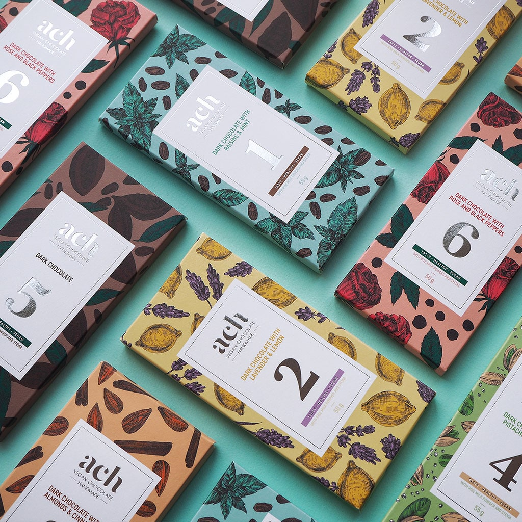Inspirasi Desain Kemasan Packaging - ACH vegan chocolate