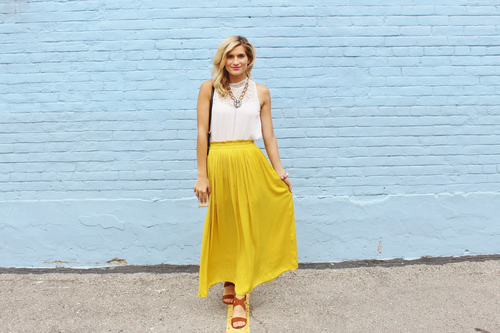 bijuleni- flowy yellow maxi skirt and victorian lace tank boho chic look