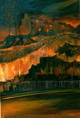 Plein air oil painting nocturne of Ways Terrace in Pyrmont by artist Jane Bennett