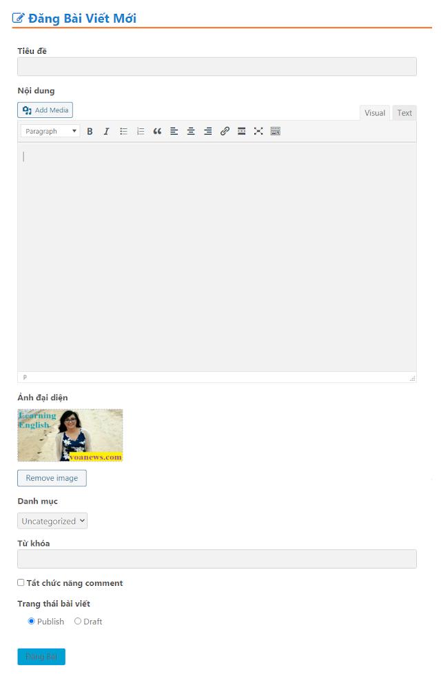 Trang đăng bài cho thành viên trong wordpress không cần plugin