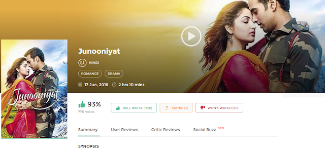 Junooniyat (2016) Hindi Full DvDRip Movie Free 300Mb