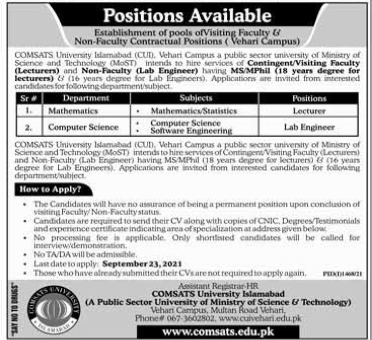 www.comsats.edu.pk - COMSATS University Vehari Campus Jobs 2021 in Pakistan