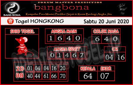 Prediksi Togel Hongkong Bang Bona Sabtu 20 Juni 2020