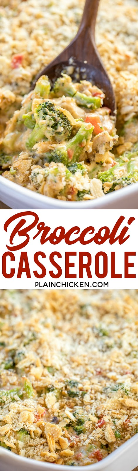Broccoli Casserole - NO cream of anything soup!! Loaded with broccoli, onion, red bell pepper and mushrooms. Top with cheddar AND parmesan cheese! This is seriously DELICIOUS! Can make ahead and refrigerate or freeze for later!  Onion, red bell pepper, mushrooms, salt, pepper, flour, milk, cheddar, parmesan, broccoli, ritz crackers, butter. #broccoli #casserole #sidedish