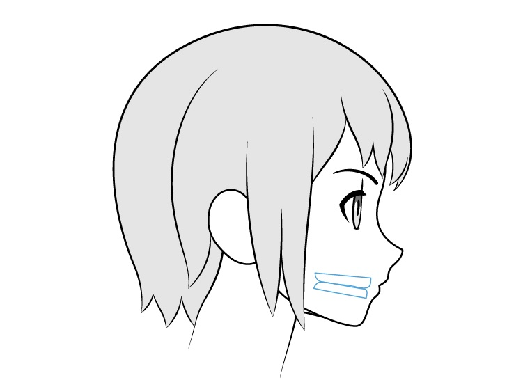 Gigi anime menutup tampilan samping mulut
