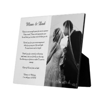 Parents of bride and groom poem gift