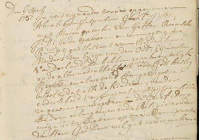 Ondertrouw van Abraham Jasperse Goort met Maria Petersen van Getten