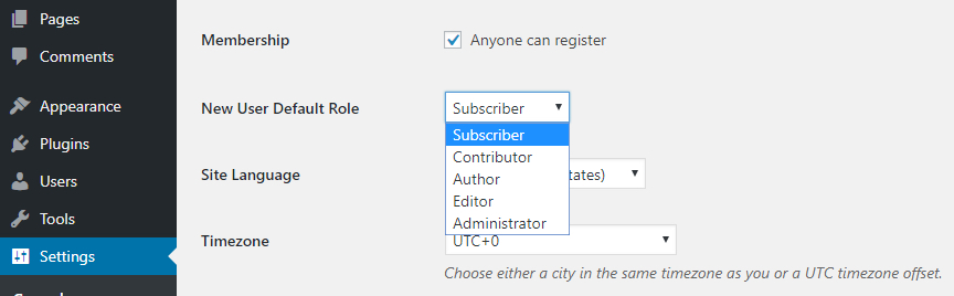 Wordpress Define the Default Settings for New Users