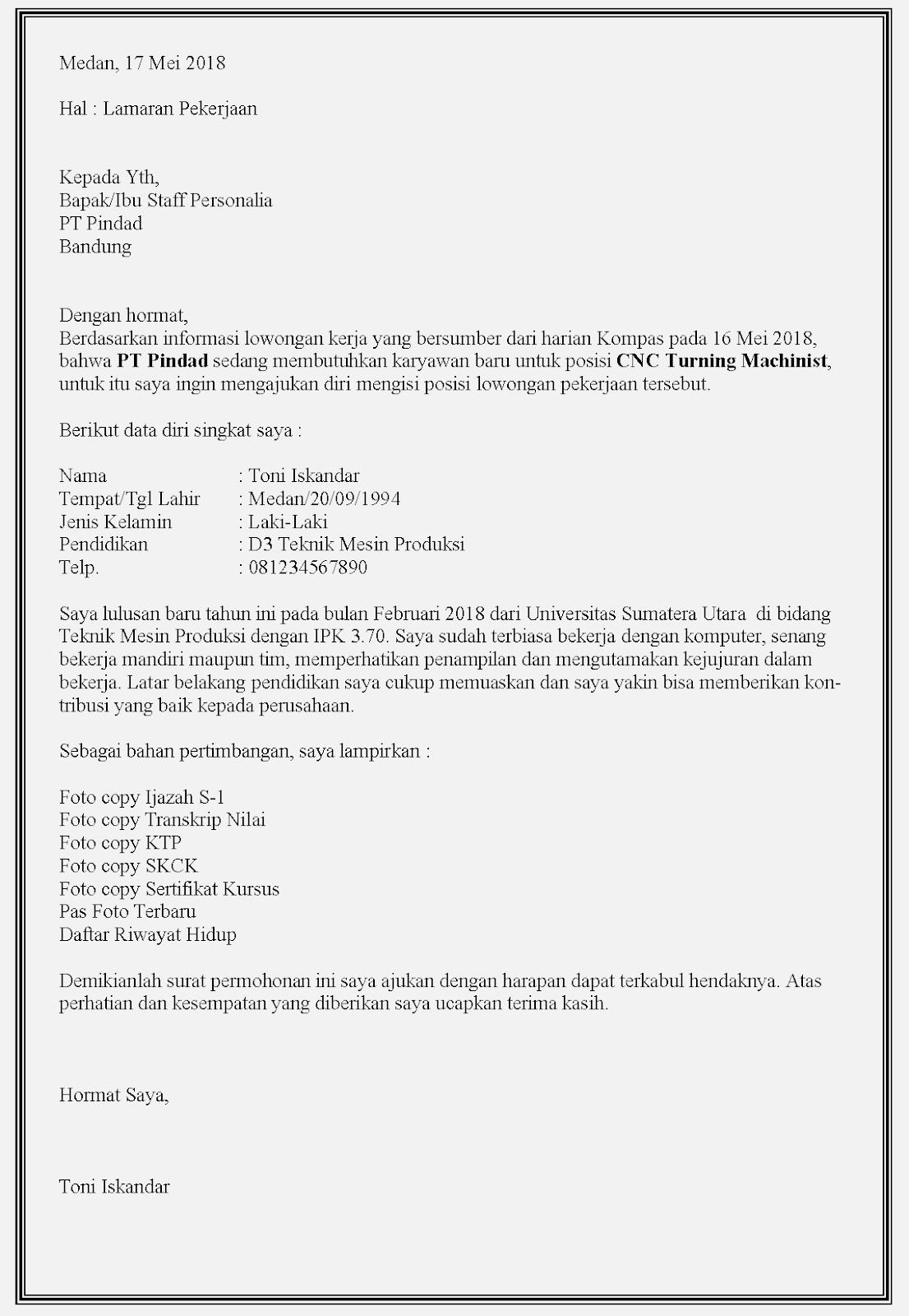 Contoh surat lamaran kerja BUMN di Pindad