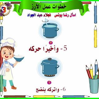 مذكرة شرح درس خطوات عمل الارز للصف الثاني الابتدائي الترم الاول للاستاذة نجلاء عبد الجواد